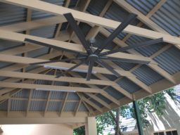 Timber Pergola with fan - Ideal Pergolas and decks