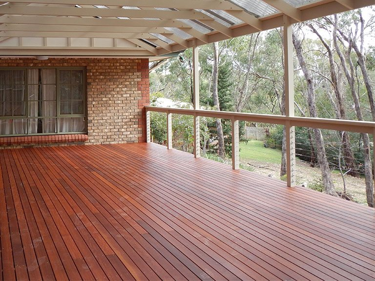 Big timber deck in Australian bushland